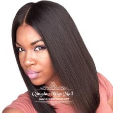 Hottest Shoulder Medium Length Angled Bobs Sporty Straight Human Hair Full Lace Wigs 12inch Middle P...