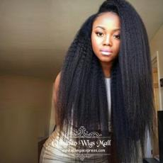 The Stunning Celebs Afro Coarse Yaki Human Hair Front Lace Wigs 22inch 250 density