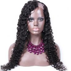 Youthful Long Kinky Curly Peruvian Virgin Human Hair U Part Wigs For Sale 22inches