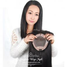 Indian Remy Hair Fine Mono Base Human Hair Toppers Wiglets For Thinning Hair