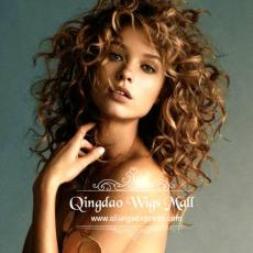 Youthful Toffee Blonde Hair Color With Highlights Messy Curly Monofilament Wigs Human Hair 16inch