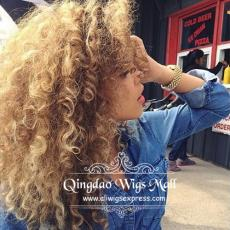 Sun Kissed School Summer Strawberry Golden Blonde Messy Afro Curly Hairstyle Real Human Hair Wigs