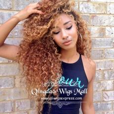 Honey Blonde Toned Messy Curly School Hairstyle Lace Front Wigs Human Hair 20inch