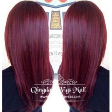 Easy Girls Hairstyle Bright Purple Red Coloured Thick Soft Straight Monofilament Wigs Human Hair 18i...