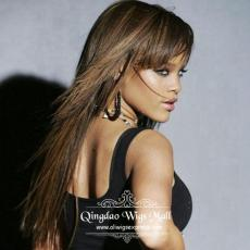 Rihanna Sweet Silky Straight Human Hair With Full Bangs Celebrity Lace Front Wigs Wholesale 20inch