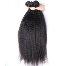Beautiful Natural Black Coarse Italian Yaki Indian Remy Hair Bundles Weave 3pcs/Lot