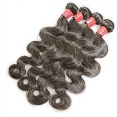 Gorgeous Mixed Grey Granny Black Remy 6A Peruvian Human hair Full Head Weft Weave 4pcs/Lot