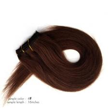 Cheap Smooth Silky Straight Clip In Human Hair Extensions 6A Indian Remy Human Hair Wefts Dark Choco...