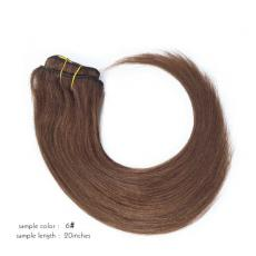 Super Natural Soft Straight Clip In Human Hair Extensions 6A Indian Remy Human Hair Wefts Chestnut B...