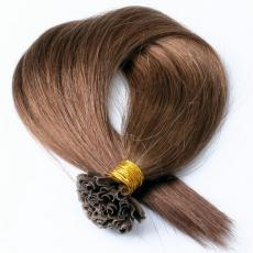 Ultra Chic Long Soft Straight Keratin U Tip Colorful Human Hair Extensions Chestnut Brown 6A Indian ...