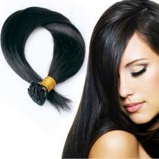 Brunettes Inspiration Natural Black Soft Straight Keratin Flat Tip Human Hair Extensions 6A Indian R...