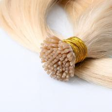 Relaxed Light Bleach Blonde 613 Soft Straight Keratin I Tip Human Hair Extensions Pre Bonded Human H...