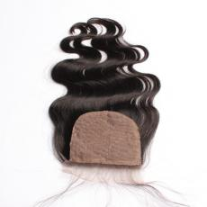 Pretty Charming Natural Wavy Beach Waves 6A Remi Indian Hair Loose Body Wave Silk Base Closure