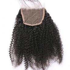 Sew In Afros Small Curly 6A Virgin Hair Lace Closure Wigs Free Part