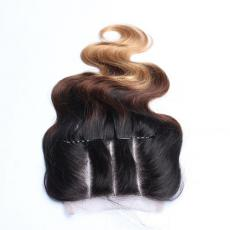 Black Women 3 Tones Ombre 6A Indian Remy Human Hair Lace Base Closure Three Part