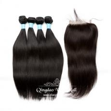 Brazilian Virgin Hair Bundle Weaves With Lace Base Closure 4pcs/lot Soft Straight