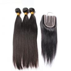 Affordable Soft Straight Brazilian Virgin Hair Weaves 3pcs With Lace Front Closure