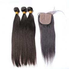 Amazing Smooth Straight Brazilian Virgin Hair Bundles 3pcs With Silk Base Closure Free Part