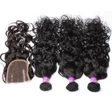 Pretty Wet And Wavy Afros Brazilian Virgin Human Hair Bundles With Lace Base Closure 4pcs