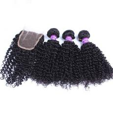 African American Small Kinky Curly Brazilian Virgin Human Hair Bundles With Lace Closure 3 Part