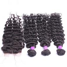 Afros Frizzy Beautiful Hair Deep Curly Brazilian Virgin Human Hair Bundles With Lace Closure