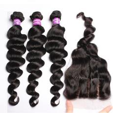 Three Way Part Loose Body Wave Brazilian Virgin Human Hair Weaves With Swiss Lace Closure