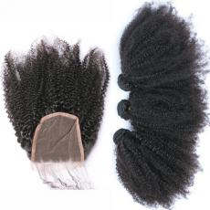 Frizzy Afros Big Great Curly Hair Dos Brazilian Virgin Human Hair Weaves With Swiss Lace Closure
