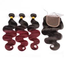 1b/99j Burgundy Ombre Body Wave Long Red Human Hair Extensions With Lace Closure