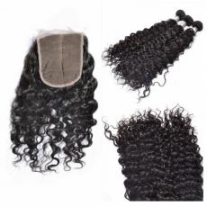 Brunettes Tight Curly Hair Dos Brazilian Virgin Human Hair Weaves With Swiss Lace Closure