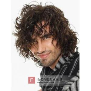 Long Brown Curly Men's Hair Replacement Wigs And Toupees Dubai