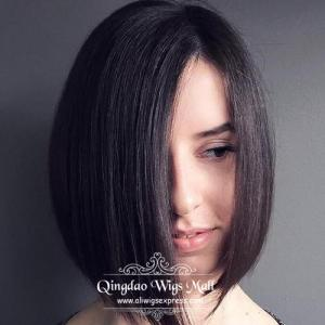 Vogue Straight Black Bob Style Capless Human Hair Wigs With Big Side Bangs