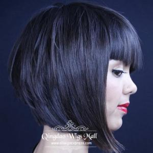 Best Black Brunettes Blunt Bob Haircuts Human Hair Wigs