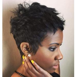 Short Layered Wavy Black Human Hair Wigs For African Americans