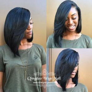 Angled Bob Wavy Style Lace Front Wigs With Side Bangs Medium Length