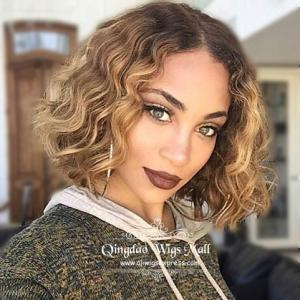 Charming Short Curly Full Bob 100 Indian Remy Real Human Hair Wigs