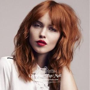 Celebrity Celebs Natural Brown Wavy Bob 100 Human Hair Bob Wigs With Full Straight Bangs 12inch