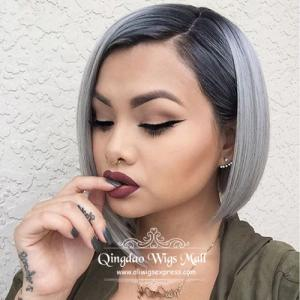 The Glam Modern Medium Layered Bob Hair Dos 100 U Part Human Hair Wigs With Full Side   Fringe
