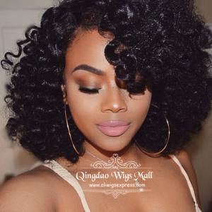 Wild Natural Black Messy Curly Lace Front Wigs Human Hair 14inch