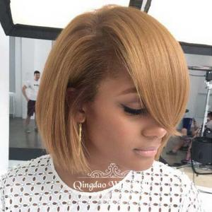 Gorgeous Fluffy Mid-Length School Bob Hairstyle Blonde Lace Front Wigs Human Hair