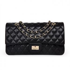Caviar Cowhide Black Diamond Lattice Handbag