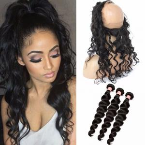 100 Indian remy human hair 360 lace frontal with bundle deep wave curly
