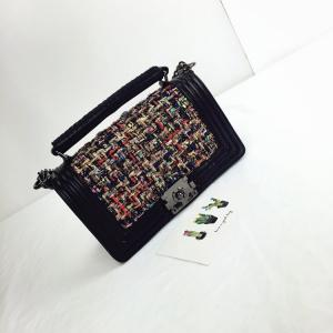 PU and Cotton Women handbag with chain