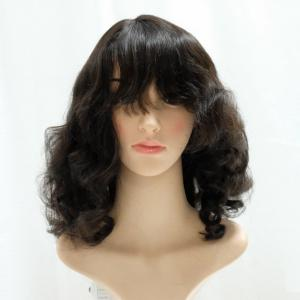 Medium Length Hairstyle Loose Wavy Curls Lace Front Wigs With Full Blunt Bangs
