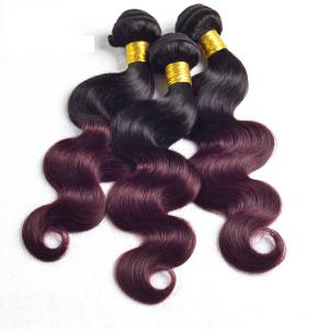 2 Tones Dark Cherry Red Ombre 100 Natural Human Hair Extensions 3pcs/lot