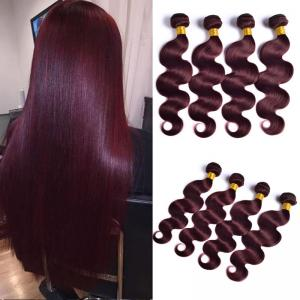 99j Burgundy Red Wine Colored Hair Bundles Straight Human Hair Extension 8 To 30inch