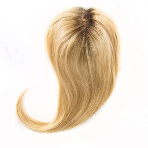 Fashionable Dark Rooted Golden Blonde Crown Top Hair Pieces 100 Human Hair