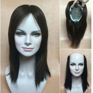 SILK TOP human hair wiglets topper Add-On Fall top piece Bangs 16 20 24 inch