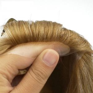 100 Human Hair Wigs Medical Wigs For Bald Women Full Poly Skin With Adhesive Glue